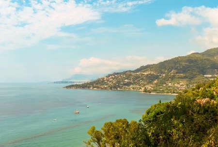 VENTIMIGLIA, ITALY- AUGUST 6, 2019: Beautiful colorful natural picturesque sea view in the heart of Menton, Ventimiglia and the Ligurian coast