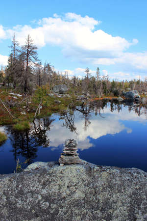 Swamp or lake with megalithic seid boulder stones, dead trees in nature reserve on mountain Vottovaara, Karelia, Russia. Natural background view. Lapps Sami heathen Shaman worship Hyperborea Concept Stok Fotoğraf