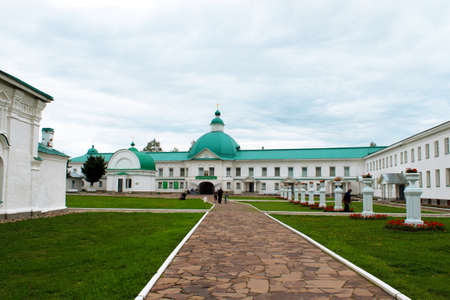 Leningrad region, Russia, August 16, 2012: View of people in the Alexander Svirsky Male Holy Trinity Monastery 報道画像