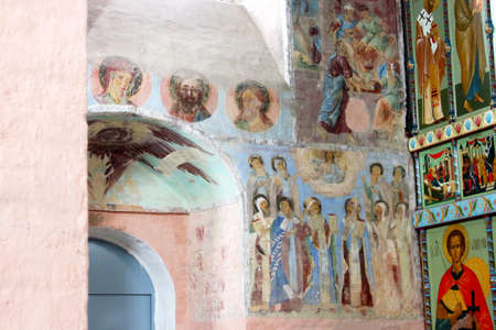 Leningrad region, Russia, August 16, 2012: Alexander Svirsky Male Holy Trinity Monaster fragment of the frescoes of the Trinity Cathedral 報道画像