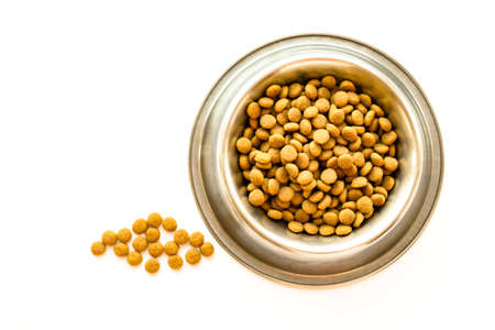 Cats and dogs dry food in metal stainless steel bowl isolated on white color background close up top view. Selective soft focus. Shallow depth of field. Text copy space. Feeding pet concept