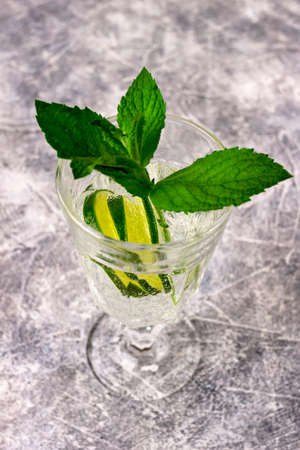 Summer healthy homemade citrus lemonade infused water mojito coctail drink of limes, mint leaves 写真素材