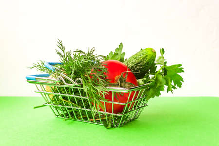 Shopping grocery cart metal on green background. Food basket concept. Close up. Copy space