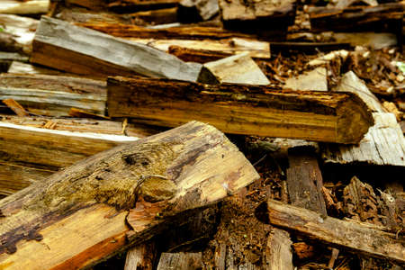 Abstractb background old aged dry fire wood timber planks pile chopped. Heating home concept. 写真素材