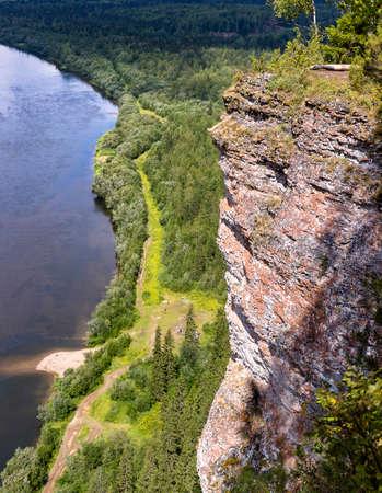 Vishera river and rocks panoramic view from Vetlan sheer cliff stone Perm region, Russia 写真素材 - 157021681