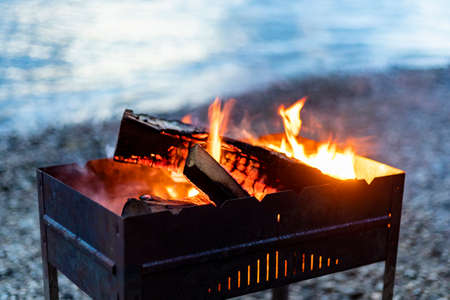 Brazier chargrill, burning firewood, smoke, hot flame of fire on river shore natural background.