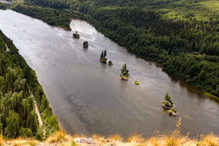 Vishera river and rocks panoramic view from Vetlan sheer cliff stone Perm region, Russia 写真素材