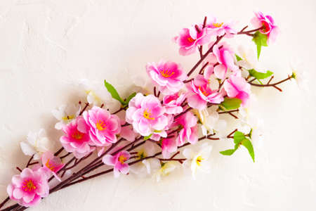 Sweet pink spring cherry, plum, apple tree blossom bunch Chinese new year lunar holiday arrangement decoration on white background concept. Top view. Color on white background. Close up. Selective focus. Copy space