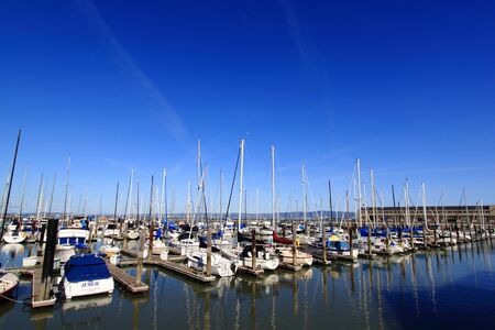 A line of boats in Pier 39 in San Francisco