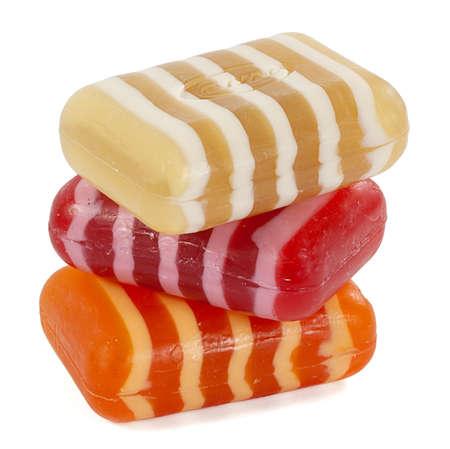 roundish: three soaps isolated on white background