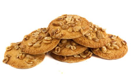 Cookies with peanuts isolated on white background photo