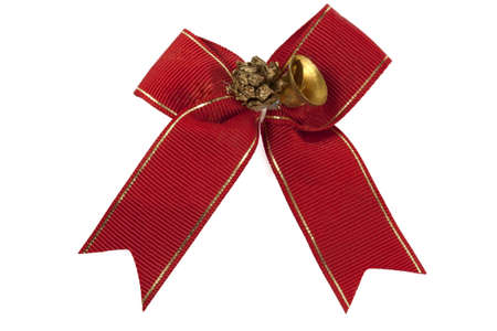 red ribbon with a bell isolated on white background photo