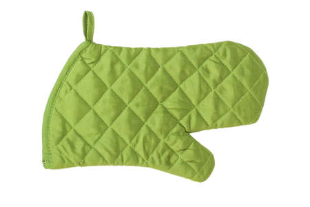 Green heat protective mitten isolated on white background photo