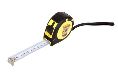 Yellow tape measure close up isolated on white background Imagens