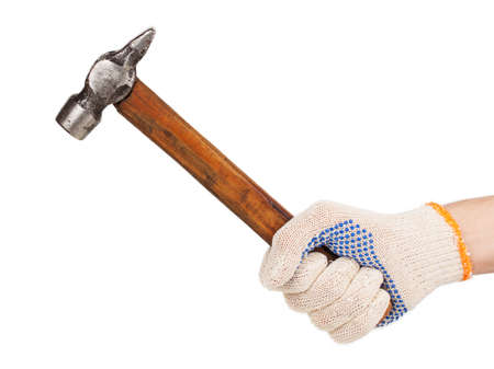 Working hand in glove holding a hammer isolated on white background photo