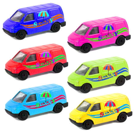 colorful childrens toy car models isolated on white background photo