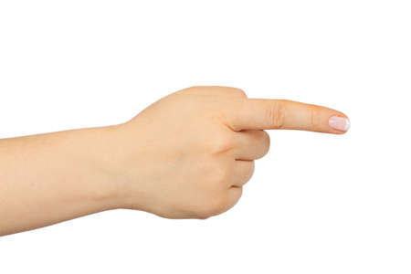 female hand with finger showing right isolated on white background photo