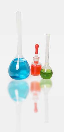 volumetric flask: Laboratory glassware isolated over white