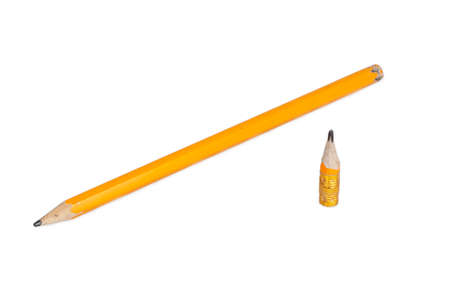 orange long and short pencils isolated on white  photo