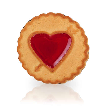candy hearts: cookie with a heart of jelly isolated on white background