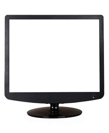 tv panel: Computer display with blank white screen isolated on white background Stock Photo