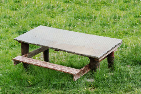outdoor table with a bench on green grass photo
