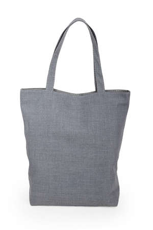 Gray linen bag isolated on white background photo