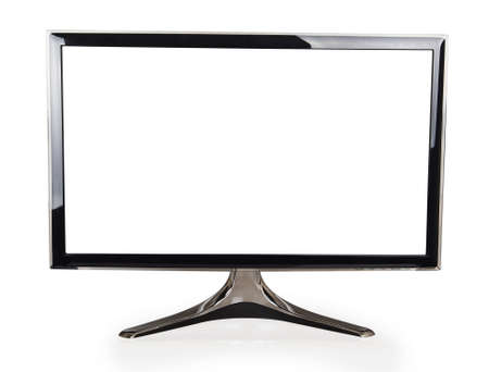 flat screen tv: Computer display with blank white screen isolated on white background Stock Photo