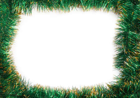 frame of green christmas garland on a white background stock photo 32704697 - Green Christmas Garland