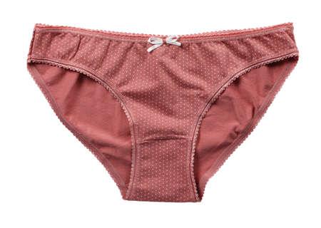 panties: Bragas de color rosa de la mujer aisladas sobre fondo blanco