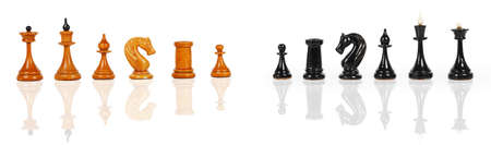 shiny black: White and black chess figures isolated on a white background Stock Photo