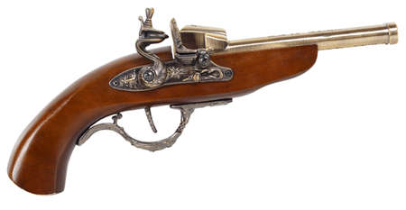 Antique gun isolated on white background photo