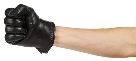 leather gloves: Hand in black leather glove isolated on white background