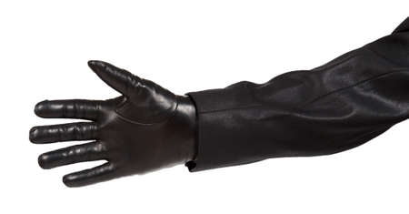 leather gloves: Hand in black leather glove and black suit isolated on white background Stock Photo