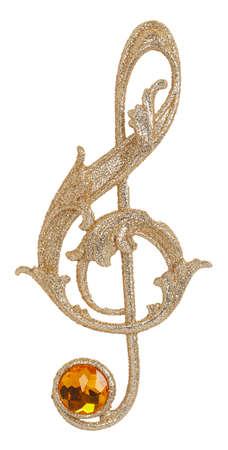 tenor: Golden treble clef isolated on white background Stock Photo