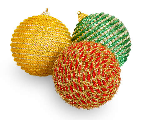 Three Christmas balls isolated on a white background photo