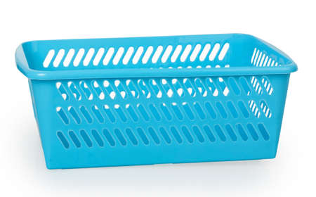 Empty blue plastic basket isolated on white background