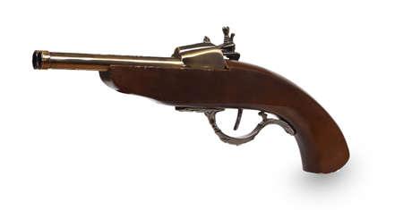 flint gun: Pistola antigua aislada en el fondo blanco Foto de archivo
