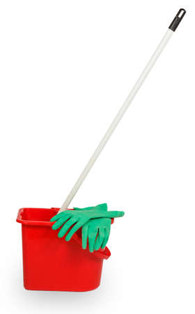 bright housekeeping: Mop in red plastic bucket and green rubber glove isolated on white background Stock Photo