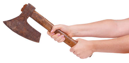 steel head: Old ax in female hands isolated on white background Stock Photo