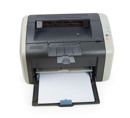 Modern printer isolated on white background photo