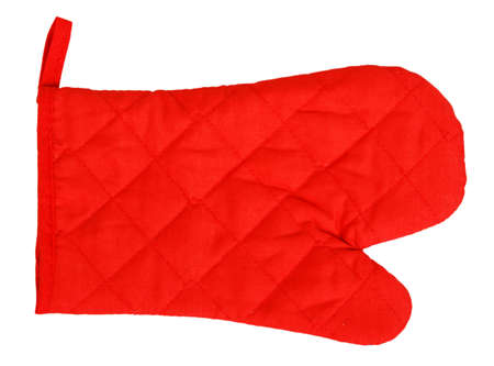 fireproof: Red heat protective mitten isolated on white background
