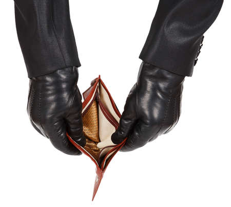 swindler: Hands in black gloves holding an open empty wallet isolated on white background
