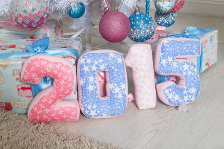 numerals: Textile pink and blue numerals 2015 Stock Photo