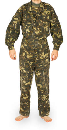 Man in camouflage jacket and pants isolated on white background photo