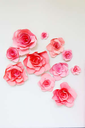 pink wall paper: Paper pink decorative flowers on a white wall