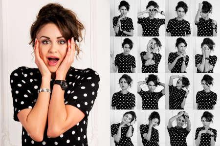 collage caras: Conjunto de imágenes de mujer joven y bonita con diferentes gestos y emociones aisladas sobre fondo blanco