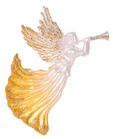 白い背景で隔離のトランペット装飾の天使 写真素材 - 49961014
