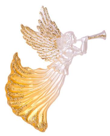 cuernos: Ángeles con trompetas decoración aisladas sobre fondo blanco