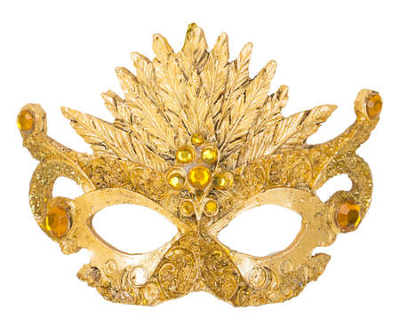 venetian mask: Gold Mask decoration on Christmas tree isoloated on white background Stock Photo